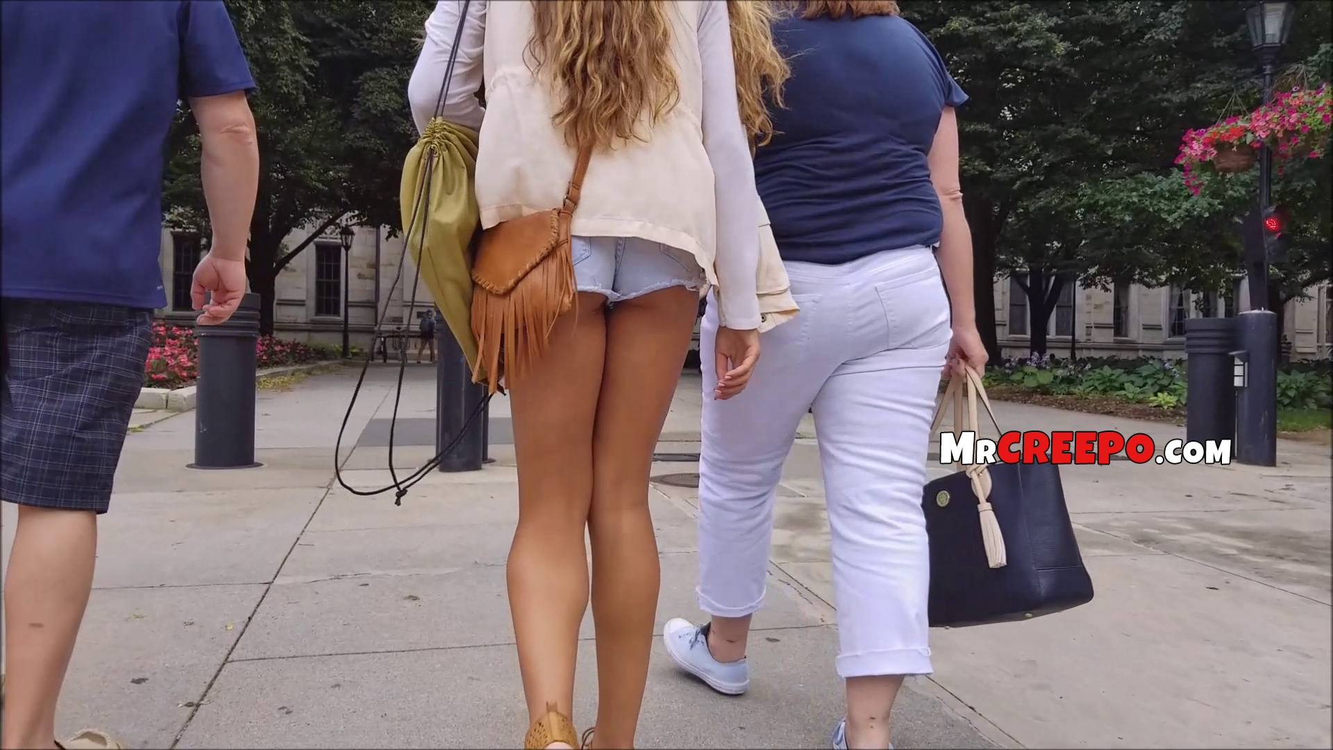 Hot daughter walks with mom and dad